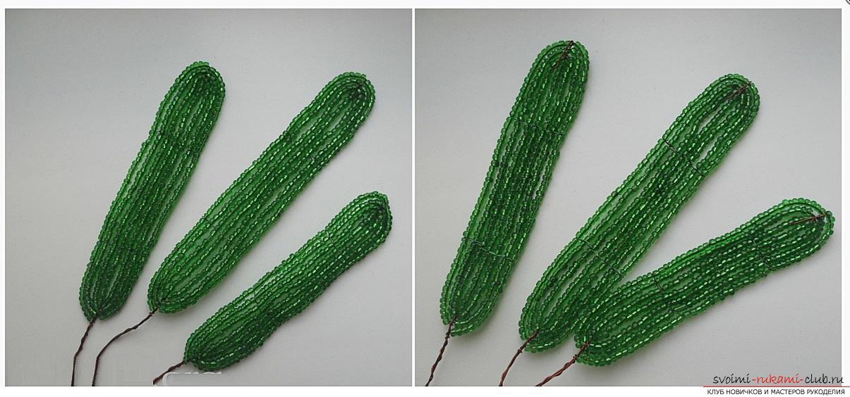 Как сплести орхидею из бисера, подробный и пошаговый мастер класс французской осевой техники плетения цветов из бисера с большим количеством фото и описанием работы. Фото №7