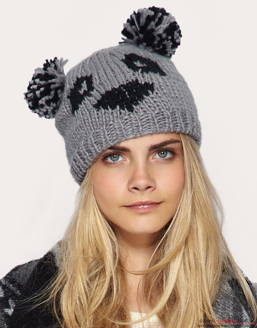 шапка девочке спицами схема