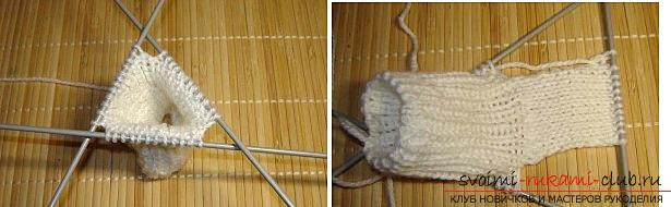 Как связать пинетки, варианты вязания на двух и пяти спицах, со швом на подошве и на боку, бесшовный вариант, пошаговые фото и описание. Фото №22