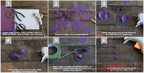 Цветы своими руками, как сделать цветок из бумаги своими руками, цветы из гофрированной бумаги, советы, рекомендации, пошаговая инструкция выполнения.. Фото №15