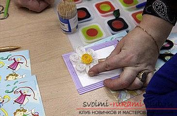 Как сделать цветочную композицию в технике квиллинг для открытки? Мастер-класс. Фото №10