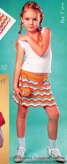 Связать крючком юбку для девочки 7 лет