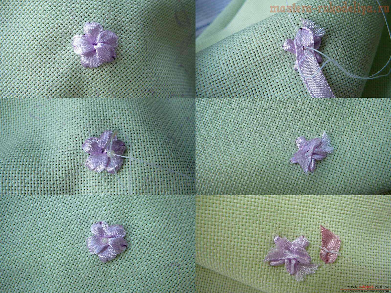 Вышивка лентами белых лилий. Фото №3