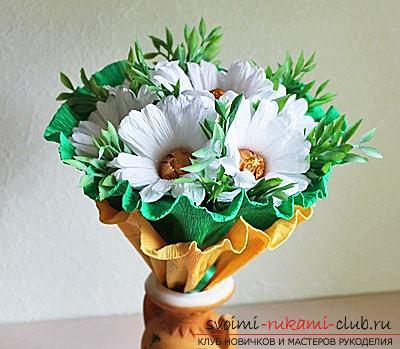 Как сделать букет полевых цветов в свит дизайне, пошаговые фото создания мака, ромашки, цветка подсолнечника, василька и крокуса. Фото №12