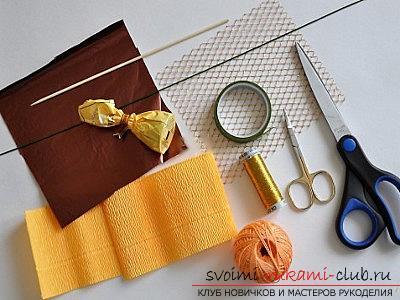 Как сделать букет полевых цветов в свит дизайне, пошаговые фото создания мака, ромашки, цветка подсолнечника, василька и крокуса. Фото №20