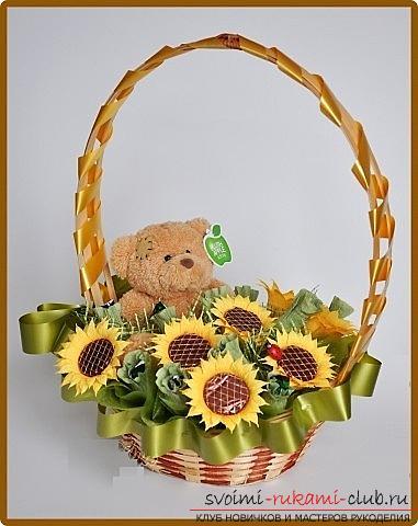 Как сделать букет полевых цветов в свит дизайне, пошаговые фото создания мака, ромашки, цветка подсолнечника, василька и крокуса. Фото №19