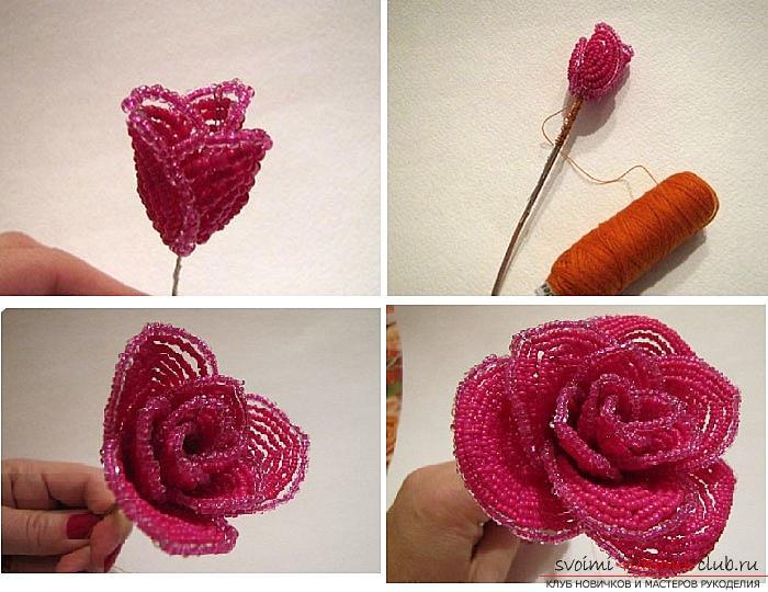 Как сплести розу из бисера. пошаговые фото и подробное описание плетения цветка и листьев розы в различных техниках. Фото №8