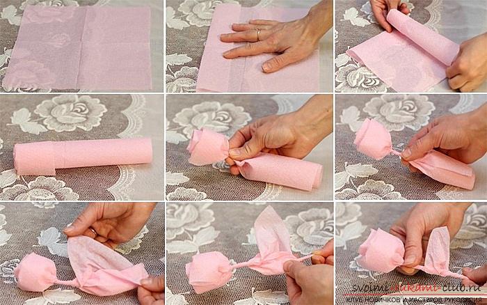 Цветок из салфеток своими руками пошаговое