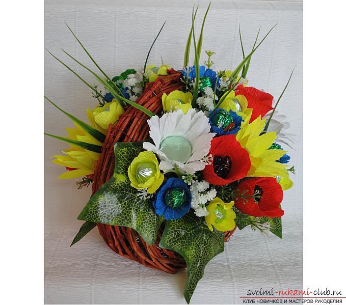 Как сделать букет полевых цветов в свит дизайне, пошаговые фото создания мака, ромашки, цветка подсолнечника, василька и крокуса. Фото №1