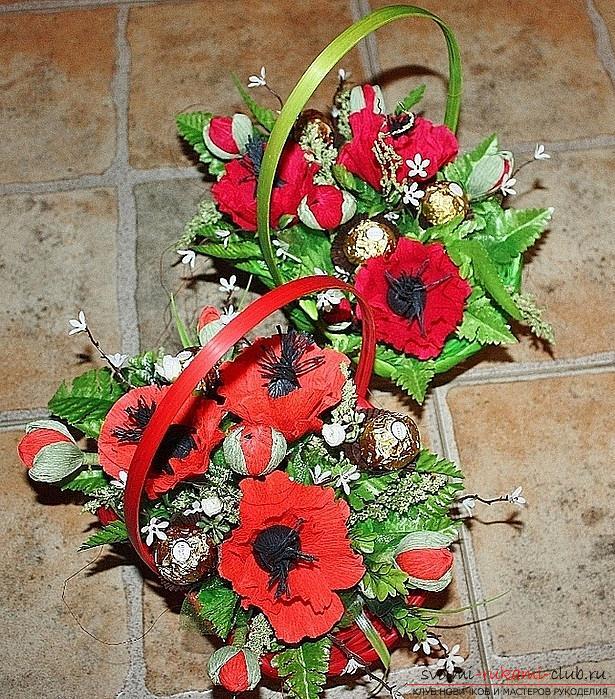 Как сделать букет полевых цветов в свит дизайне, пошаговые фото создания мака, ромашки, цветка подсолнечника, василька и крокуса. Фото №2