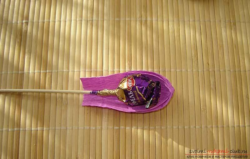 Как сделать букет полевых цветов в свит дизайне, пошаговые фото создания мака, ромашки, цветка подсолнечника, василька и крокуса. Фото №37