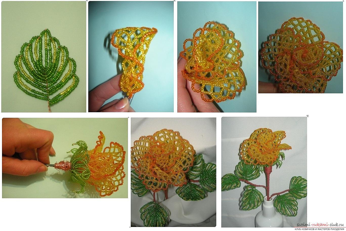 Как сплести розу из бисера. пошаговые фото и подробное описание плетения цветка и листьев розы в различных техниках. Фото №20