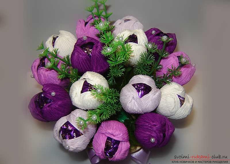 Как сделать букет полевых цветов в свит дизайне, пошаговые фото создания мака, ромашки, цветка подсолнечника, василька и крокуса. Фото №33