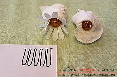 Как сделать букет полевых цветов в свит дизайне, пошаговые фото создания мака, ромашки, цветка подсолнечника, василька и крокуса. Фото №15