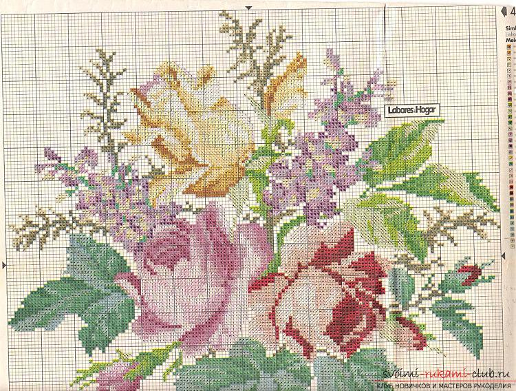 Вышивка алых роз на подушках по схемам. Фото №5