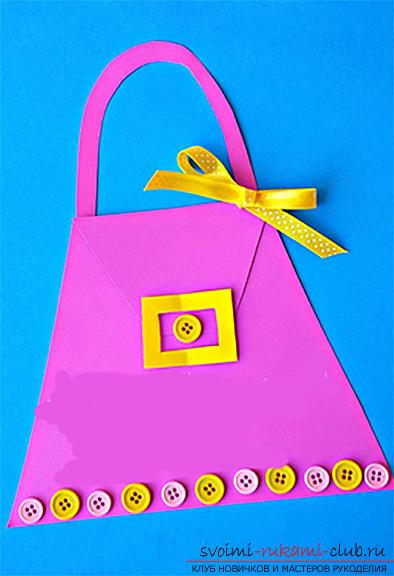 Поделки из бумаги для детей младшего возраста, бесплатные мастер-классы по созданию подарков из бумаги на 8 марта, советы и поэтапные фото.. Фото №12