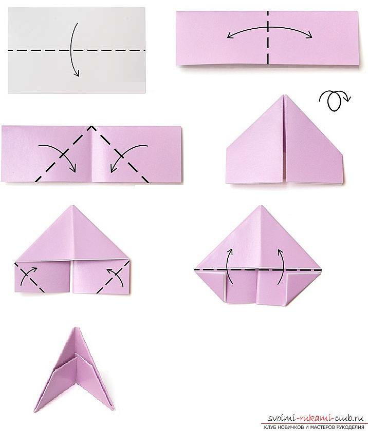 Как создать поделку в технике модульного оригами - змейка, пошаговые фото и подробное описание процесса создания модуля и поделки в целом. Фото №2