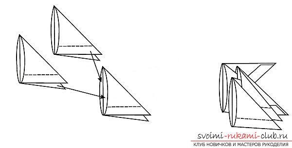 Как создать поделку в технике модульного оригами - змейка, пошаговые фото и подробное описание процесса создания модуля и поделки в целом. Фото №3