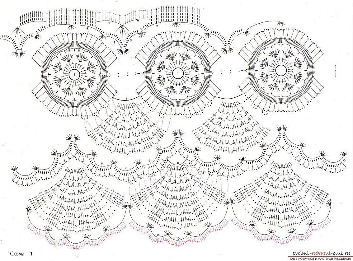 крючок узоры схемы платья вязание