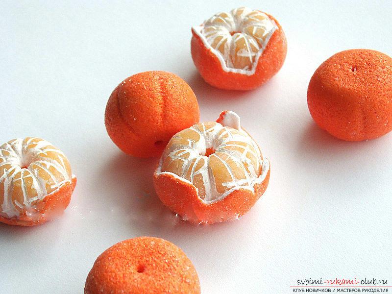 Как сделать из полимерной глины мандарин