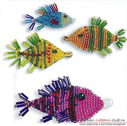 Бесплатные схемы плетения разных рыбок и морского конька из бисера.. Фото №9
