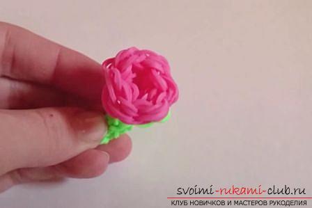 Как сделать розу из резинок на монстр тейле