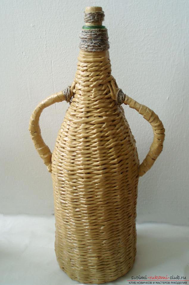 Оплетаем газетными трубочками бутылку или сосуд своими руками с фото. Фото №42
