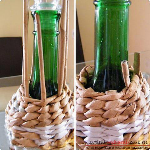 Оплетаем газетными трубочками бутылку или сосуд своими руками с фото. Фото №24
