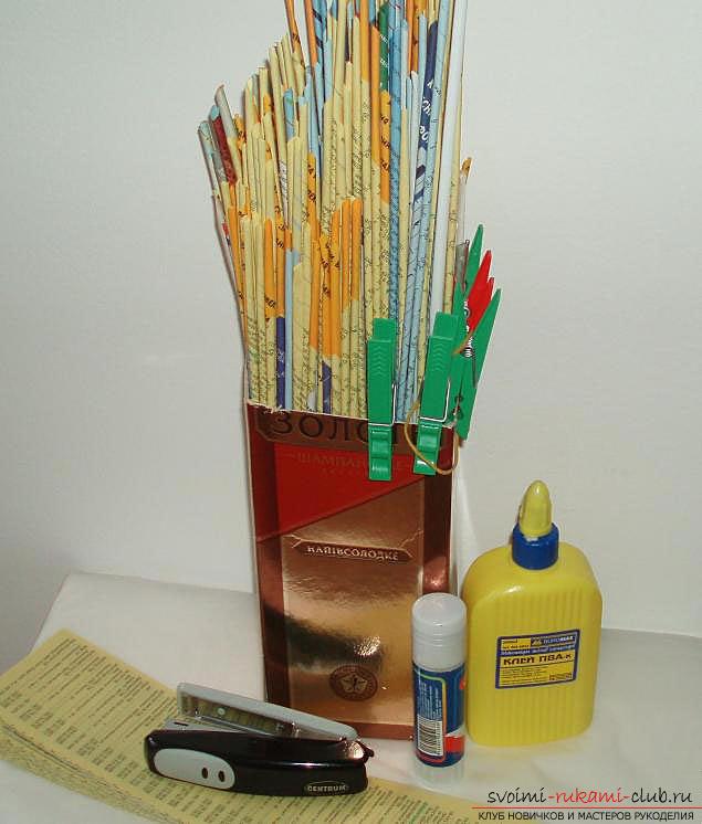 Оплетаем газетными трубочками бутылку или сосуд своими руками с фото. Фото №30