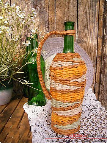 Оплетаем газетными трубочками бутылку или сосуд своими руками с фото. Фото №27