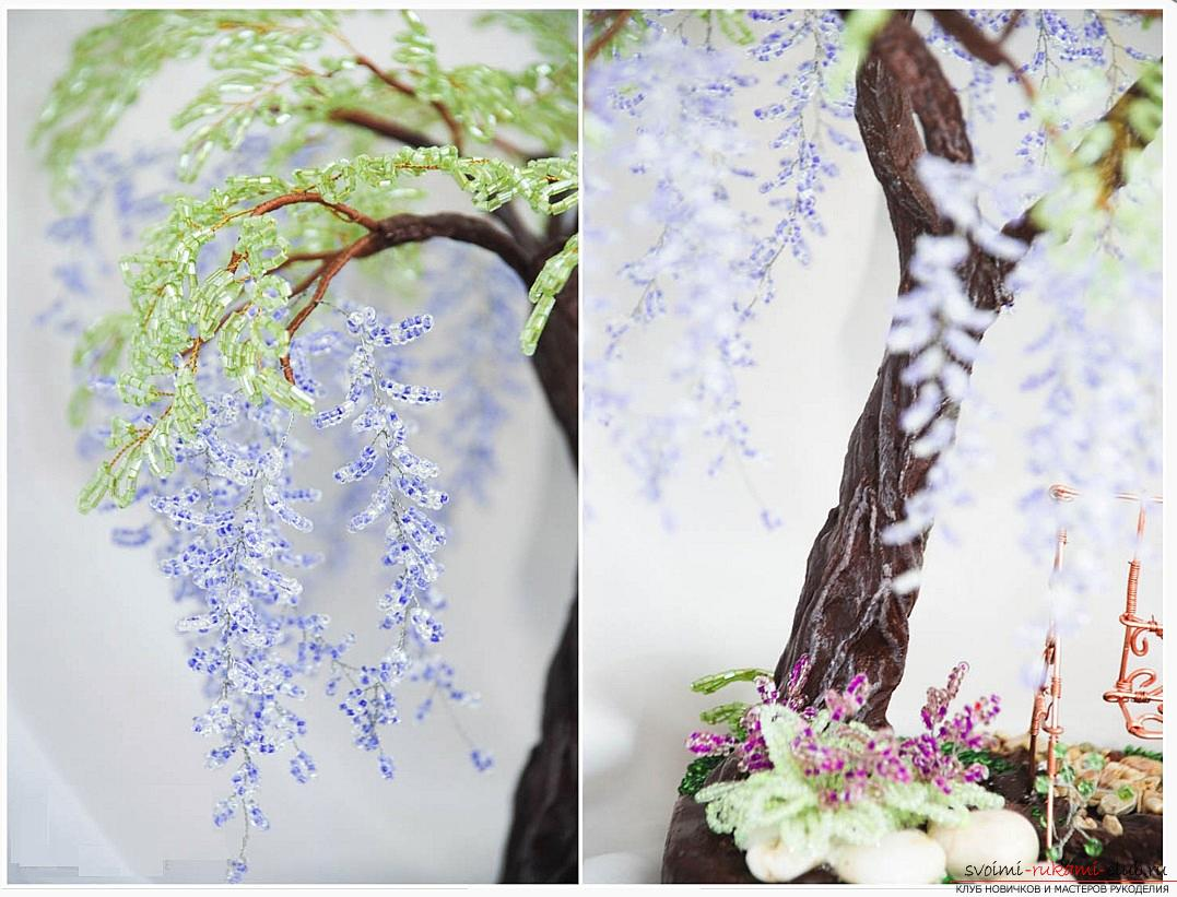 Как сплести глицинию из бисера, пошаговые фото и описание плетения японской и китайской глицинии в петельной технике, советы по декору поделки. Фото №17