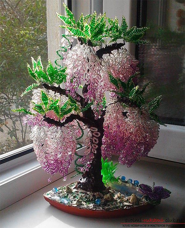 Как сплести глицинию из бисера, пошаговые фото и описание плетения японской и китайской глицинии в петельной технике, советы по декору поделки. Фото №1