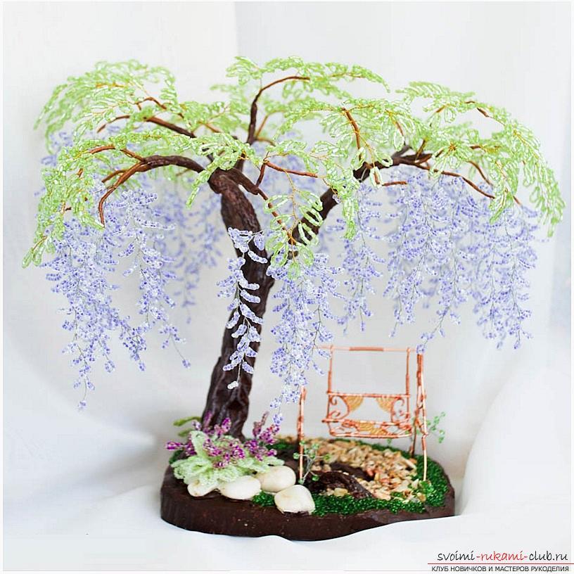 Как сплести глицинию из бисера, пошаговые фото и описание плетения японской и китайской глицинии в петельной технике, советы по декору поделки. Фото №12