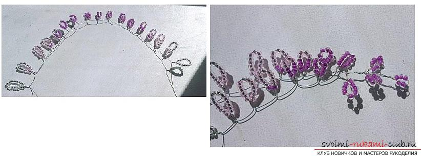 Как сплести глицинию из бисера, пошаговые фото и описание плетения японской и китайской глицинии в петельной технике, советы по декору поделки. Фото №4
