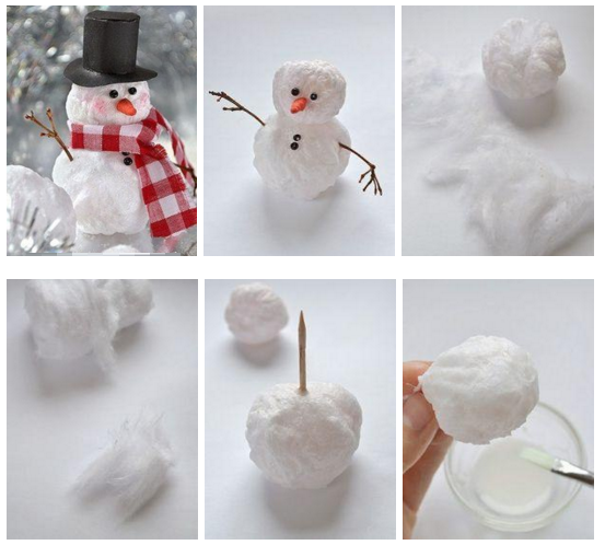 Снеговик с ваты своими руками