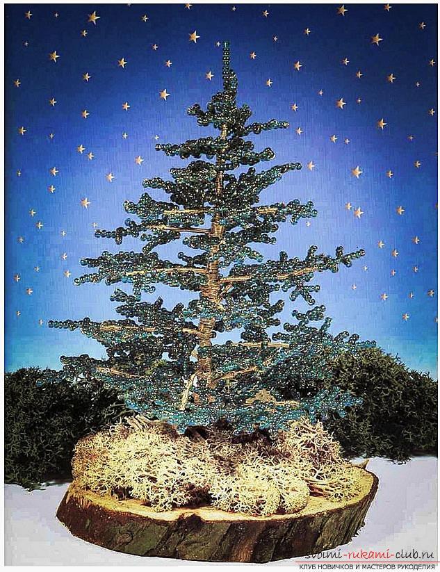 Как сплести из бисера и проволоки новогоднюю, заснеженную или украшенную елочку своими руками, пошаговые фото и подробное описание. Фото №17
