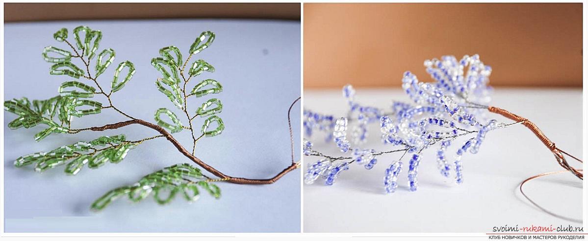 Как сплести глицинию из бисера, пошаговые фото и описание плетения японской и китайской глицинии в петельной технике, советы по декору поделки. Фото №15