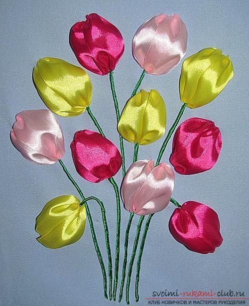 Оригинальная вышивка лентами тюльпанов по мастер-классу с фото и схемами. Фото №5