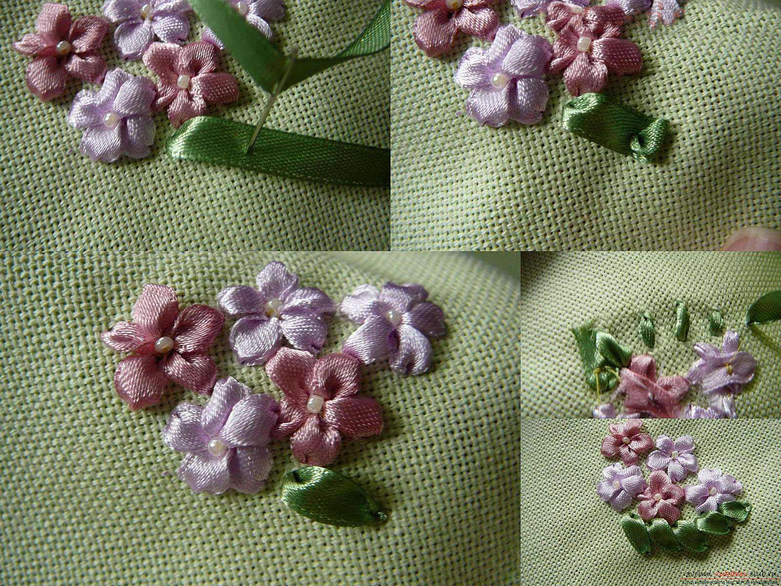 Вышивка лентами белых лилий. Фото №4