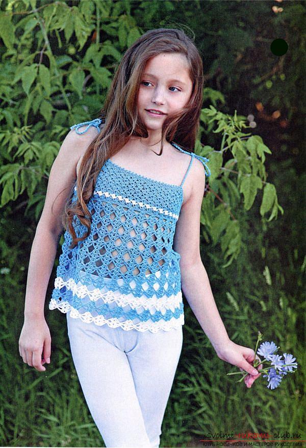 Как связать крючком летнюю маечку для детей разного возраста со схемами и описанием.. Фото №4