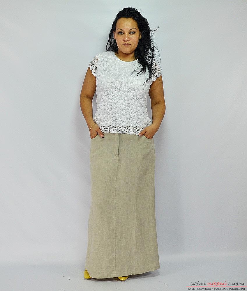 Стильная летняя юбка для полной женщины своими руками. Фото №7