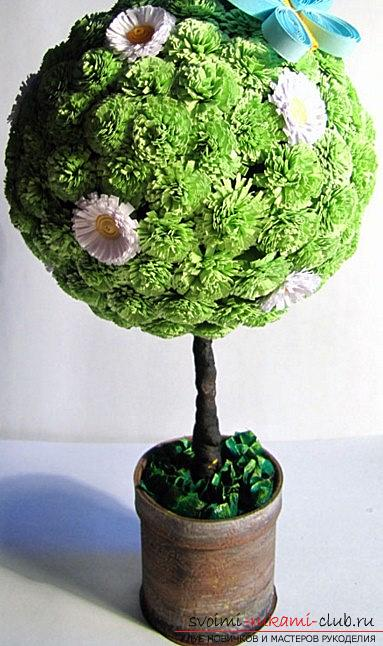 Инсталляция абстрактного дерева в технике квиллинг с цветами - мастер-класс. Фото №1