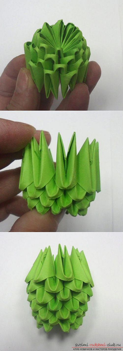 Как сделать сувенир с пасхальной тематикой в технике модульного оригами, пошаговые фото и описание создания пасхального яйца. Фото №25