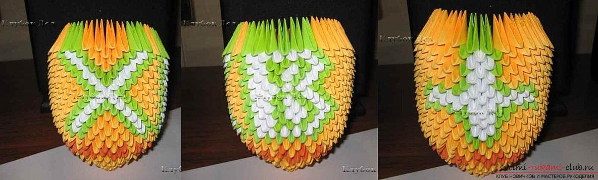 Как сделать сувенир с пасхальной тематикой в технике модульного оригами, пошаговые фото и описание создания пасхального яйца. Фото №43