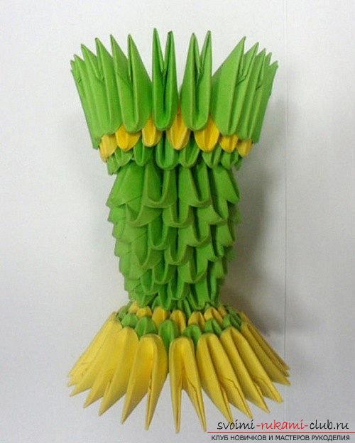 Как сделать сувенир с пасхальной тематикой в технике модульного оригами, пошаговые фото и описание создания пасхального яйца. Фото №30