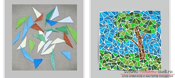 Как сделать плоскую и объемную аппликацию из цветной бумаги, различные виды аппликаций и пошаговые фото создания поделок. Фото №21