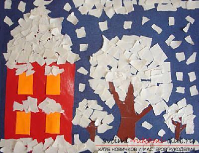Как сделать плоскую и объемную аппликацию из цветной бумаги, различные виды аппликаций и пошаговые фото создания поделок. Фото №22