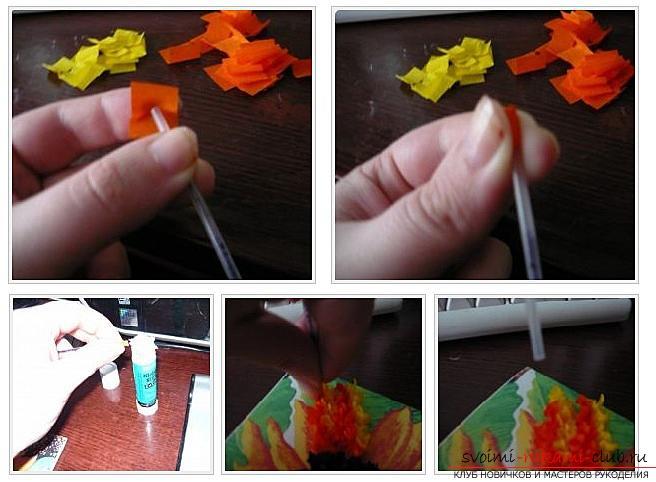 Как сделать плоскую и объемную аппликацию из цветной бумаги, различные виды аппликаций и пошаговые фото создания поделок. Фото №17
