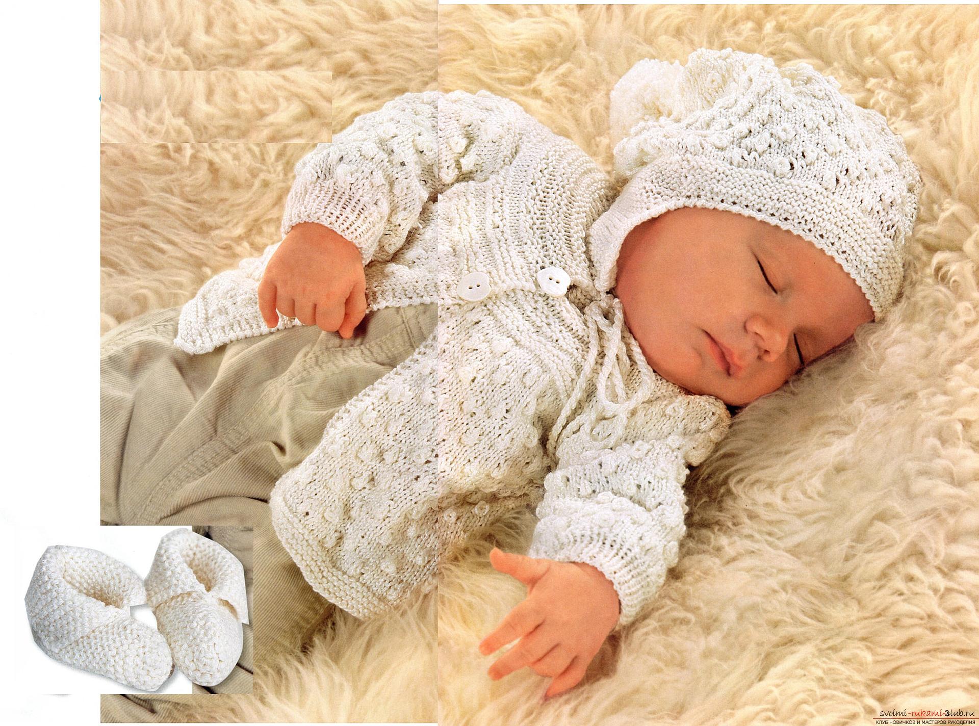 теплая шапка для новорожденного спицами схема