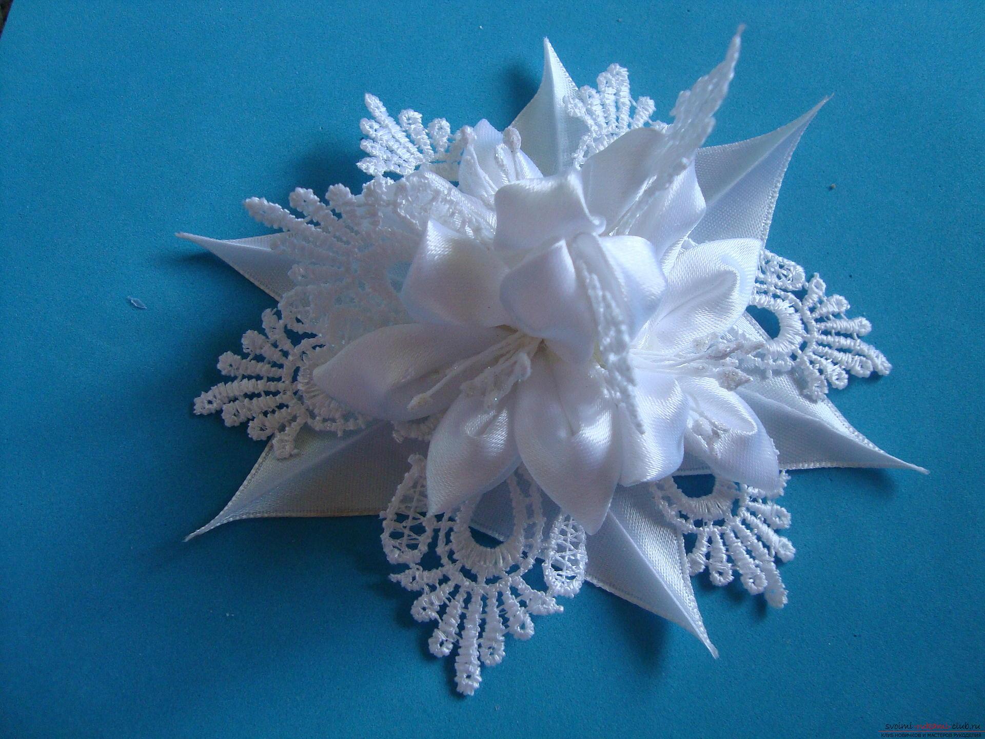 Белый цветок канзаши фото